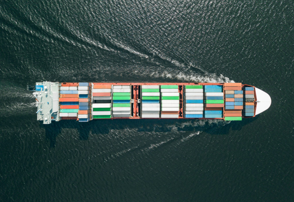 Container ship sailing in sea