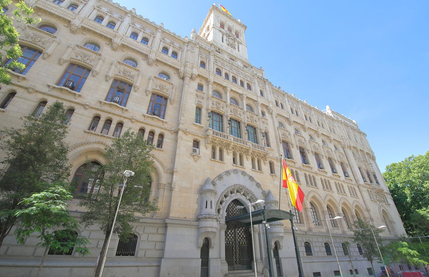 130364445 - spanish navy headquarter building madrid spain